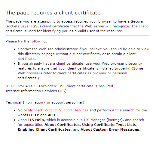 HTTP Error 403.7: Certificado Digital Requerido